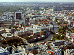 Aerial view, Berlin: The museums area as seen from the TV tower.