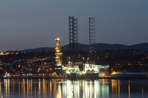 Oil Rig at night