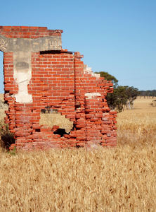 wheatfield ruins4: old building remains & ruins in wheat filed ready for harvesting