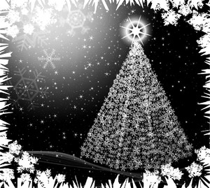 Snowflake Tree 1: A Christmas tree made of snowflakes with a starry background. You may prefer:  http://www.rgbstock.com/photo/oowvBTi/Starry+Tree  or:  http://www.rgbstock.com/photo/nQqGtIi/Christmas+Frame