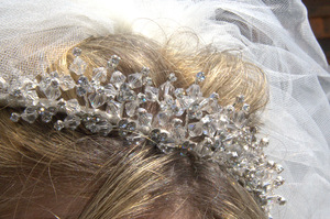 Brides Tiara: Bride wearing tiara on her wedding day
