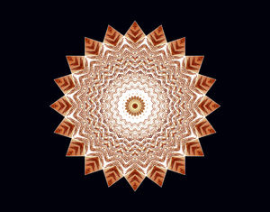 light centred brown mandala: abstract background, texture, kaleidoscopic pattern and perspectives
