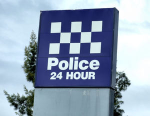 police watch1: sign showing police availability