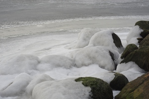 Coastline with ice: Costline with stones and rocks covered in ice.
