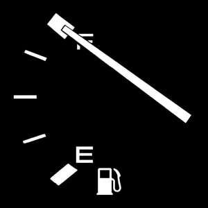 Full Tank: Gasoline fuel gauge with 'Full' reading