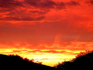 February fiery sky5: cloud formations and silhouettes at fiery sunset