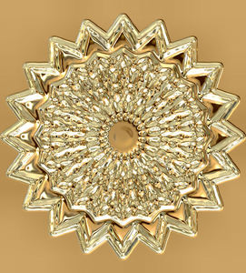 textured golden mandala: abstract golden mandala background, texture, kaleidoscopic pattern and perspectives
