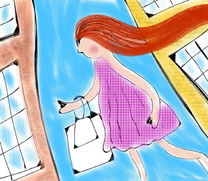 Shopping Girl: Doodle painting of a girl shopping in the big city.