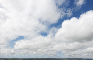 Sky panorama: Panoramic view from the top of Kit Hill, Cornwall, England.