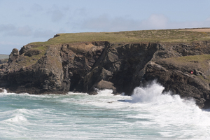 Violent waves: Fierce waves on the coast of Cornwall, England.