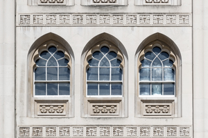 Ancient windows: Windows in the medieval (12th Century) Guildhall, London, UK. Access to, and photography of, selected areas during