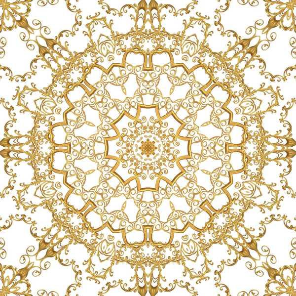 Gold Filigree Seamless Tile 4