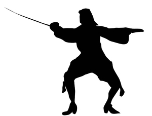 Swordsman: A black and white silhouette