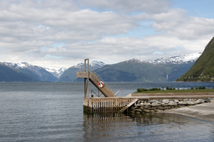 Diving platform: A diving platform on the edge of a fjord in Norway.